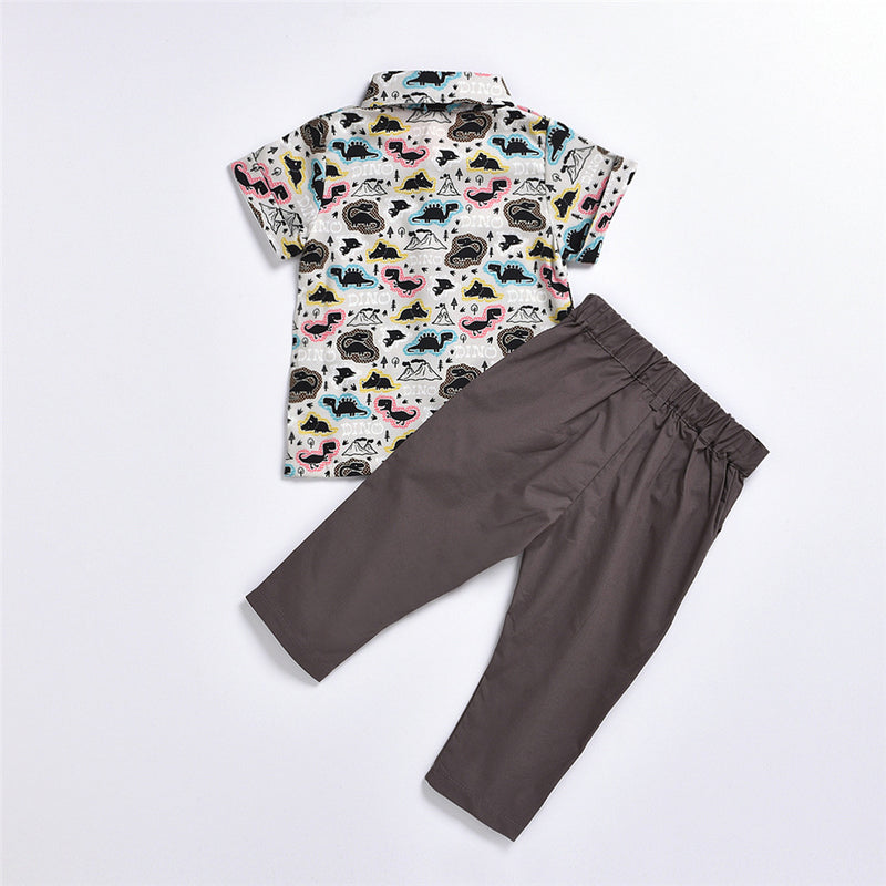 Boys Dinosaur Printed Short Sleeve Lapel Shirts & Pants Wholesale Baby Boy Boutique