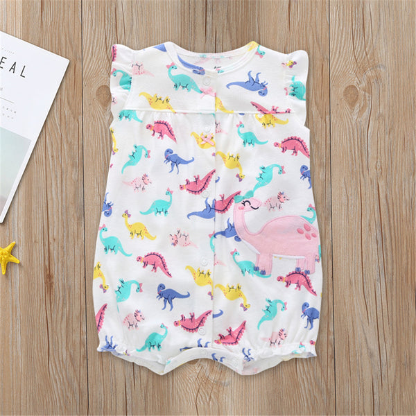 Baby Girls Dinosaur Printed Sleeveless Romper Baby Clothes Cheap Wholesale