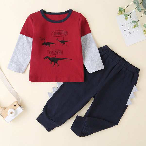 Baby Boys Dinosaur Printed Stitching Long Sleeve Top & Pants