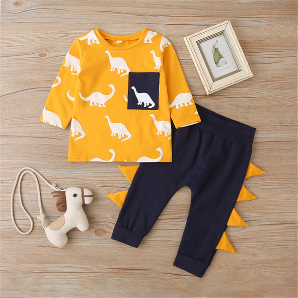 Baby Boys Dinosaur Printed Top & Pants Wholesale Baby Clothes In Bulk