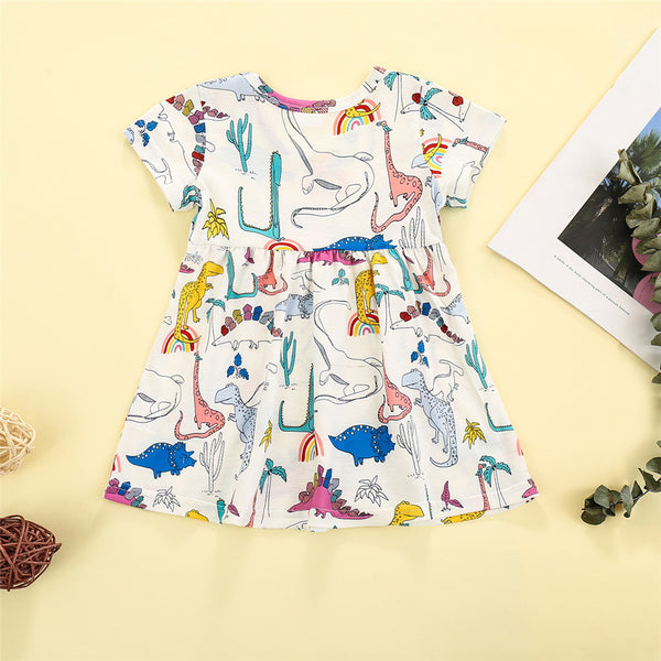Baby Girls Dinosaur Rainbow Printed Short Sleeve Dress baby girl boutique