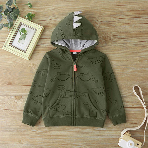 Baby Boys Dinosaur Zipper Long Sleeve Hooded Jacket Boy Clothes Wholesale