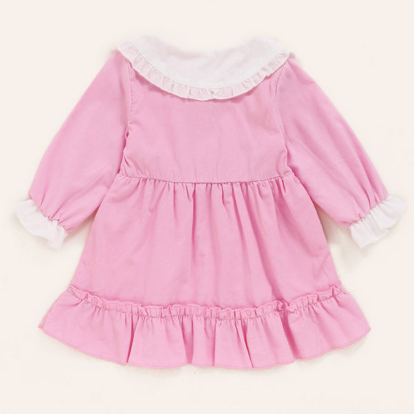 Baby Girls Doll Collar Bow Decor Long Sleeve Dress Baby Wholesale Clothes