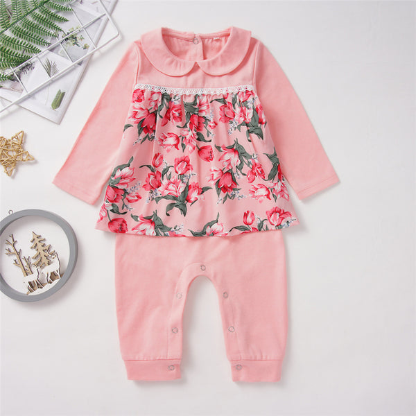 Baby Girls Doll Collar Floral Long Sleeve Romper Cheap Baby Clothes Wholesalers
