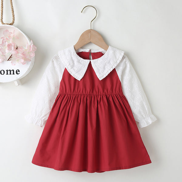 Baby Girls Doll Collar Long Sleeve Color Block Dress Baby Clothes Warehouse