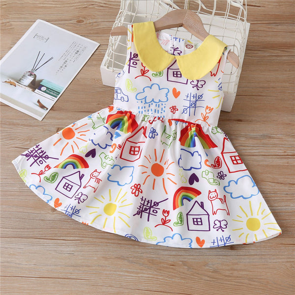 Girls Doll Collar Pattern Printed Sleeveless Pleated Dress wholesale kids boutique clothing