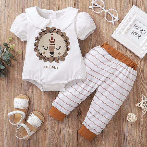 Baby Girls Doll Collar Short Sleeve Cartoon Printed Romper Striped Pants Wholesale Baby Clothes