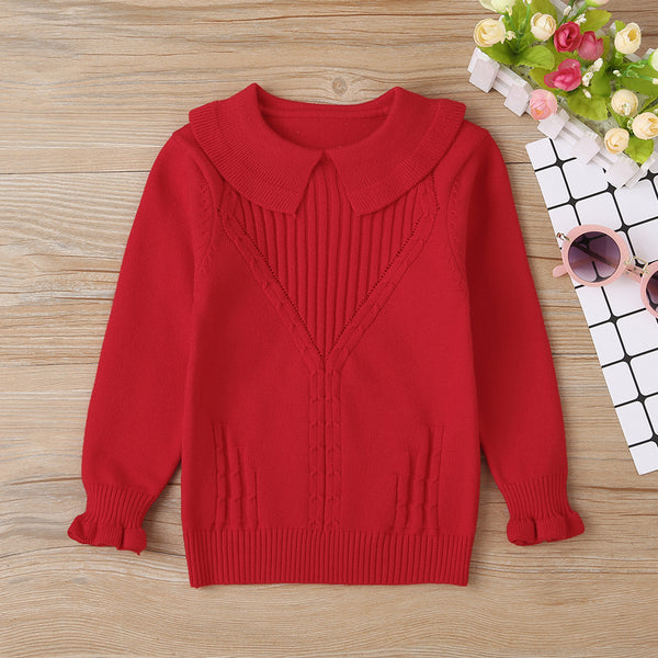 Baby Girls Doll Collar Solid Long Sleeve Sweater Cheap Bulk Baby Clothes