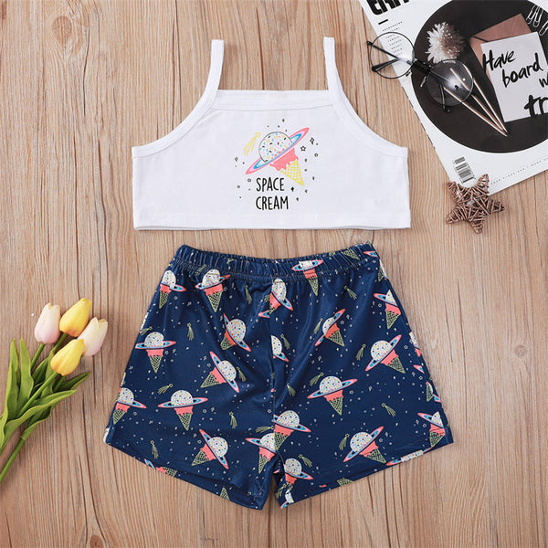 Girls Donuts Ice Cream Planet Printed Tank Top & Shorts wholesale kids clothing suppliers