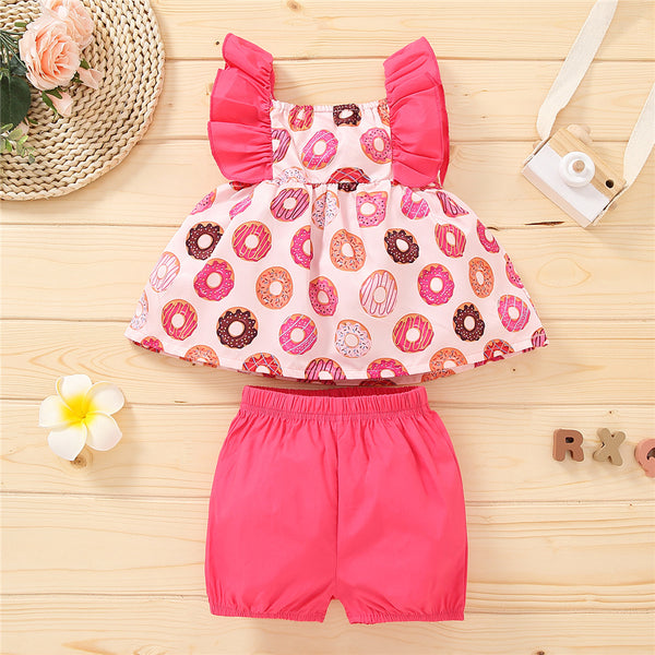 Girls Donuts Printed Bow Decor Flutter-sleeve Top & Solid Shorts wholesale childrens clothing distributors