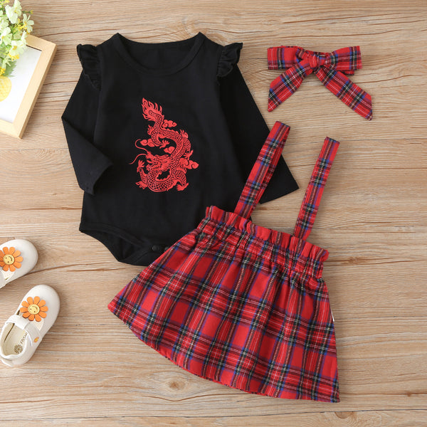 Baby Girls Dragon Long Sleeve Romper & Plaid Suspender Skirt Wholesale