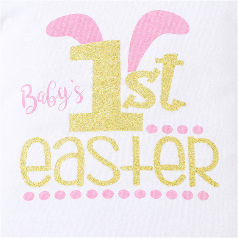 Baby Girls Easter Letter Printed Short Sleeve Romper & Floral Shorts & Headband Baby Boutique Wholesale