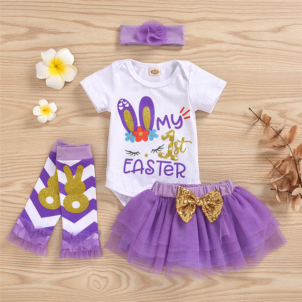 Baby Girls Easter Short Sleeve Rabbit Letter Printed Romper & Tutu Summer Suit wholesale baby boy clothes