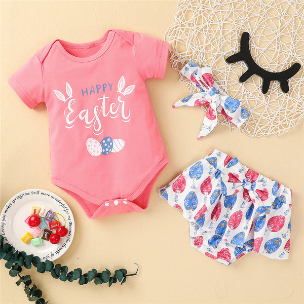 Baby Girls Eggs Happy Easter Printed Short Sleeve Romper & Shorts & Headband baby wholesale