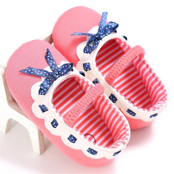 Baby Girls Elastic Band Bow Polka Dot Princess Flat Shoes