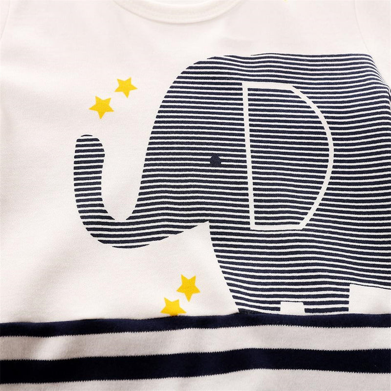 Baby Elephant Cartoon Striped Long Sleeve Rompers