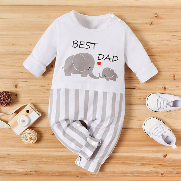 Baby Boys Elephant Letter Printed Casual Striped Long Sleeve Romper