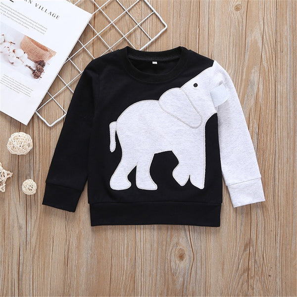 Boys Elephant Long Sleeve Casual Tops