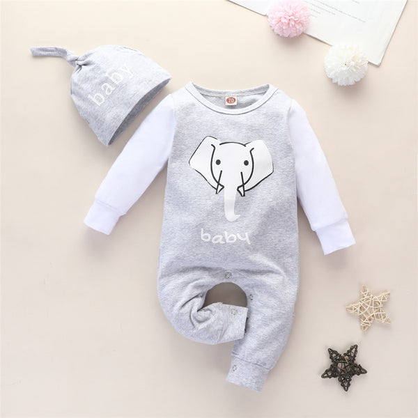 Baby Boys Elephant Long Sleeve Romper & Hat Wholesale Baby Rompers