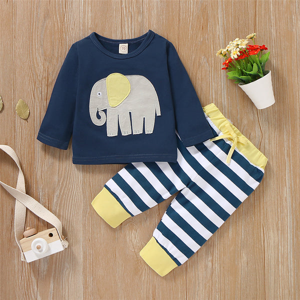 Baby Boys Elephant Long Sleeve T-shirt & Striped Bottoms Baby Clothes Vendors