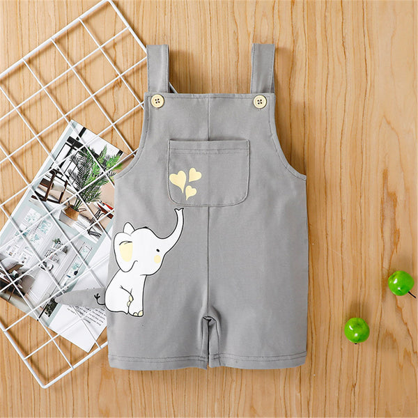 Baby Boy Elephant Printed Pocket Cute Overalls baby clothes vendors
