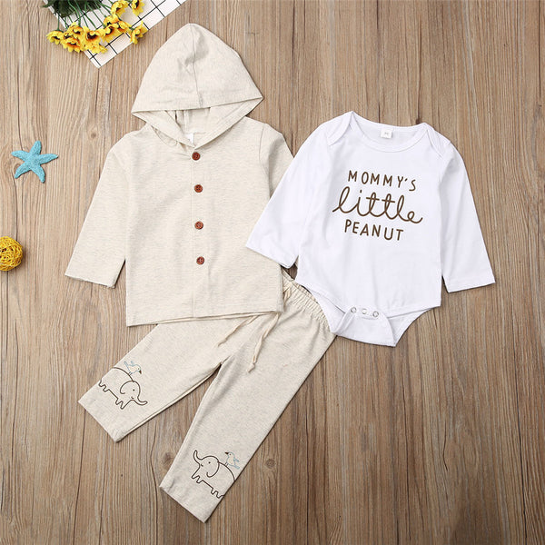 Baby Boys Elephant Printed Solid Letter Rompers & Jackets & Pants