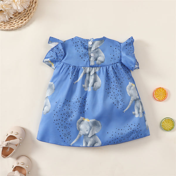 Baby Girls Elephant Star Printed Short Sleeve Dresses Wholesale Baby Clothes In Bulk