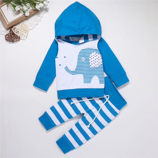 Baby Boys Elephant Striped Hooded Top & Bottoms Baby Wholesale Clothes
