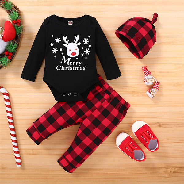 Baby Elk Merry Christmas Plaid Printed Long Sleeve Romper & Pants & Hat Baby Clothes Vendors