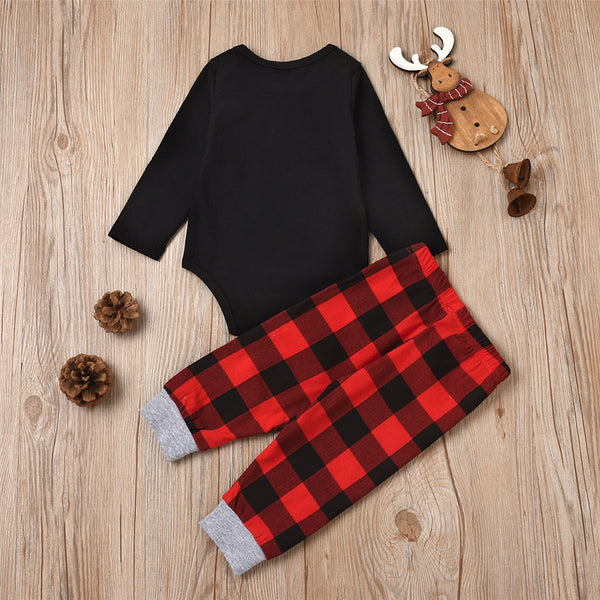 Parent-Child Elk Merry Christmas Printed Long Sleeve & Plaid Pants Sets Mommy And Me Matching Outfits Wholesale