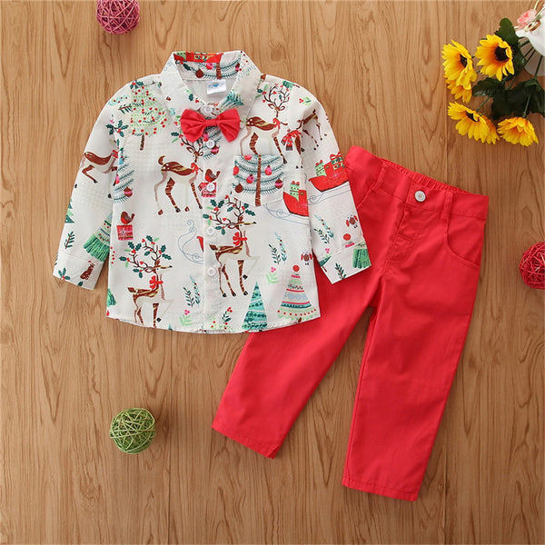 Boys Elk Printed Christmas Long Sleeve Lapel Shirts & Red Pants Boys Casual Suits