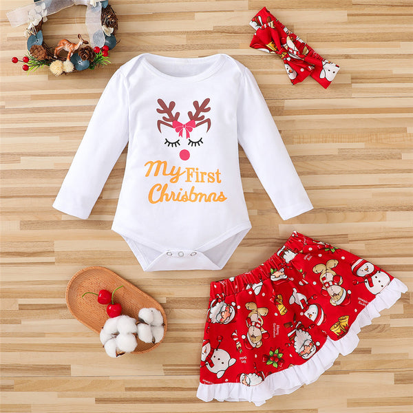 Baby Girls Elk Printed Long Sleeve Romper & Skirt & Headband Babywear Wholesale