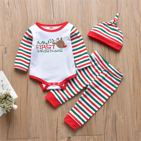 Baby Unisex Elk Striped First Christmas Long Sleeve Romper & Pants & Hat Bulk Baby Clothes Online