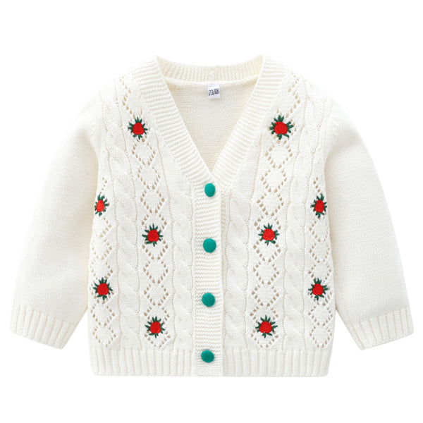 Baby Girl Embroidered Button Cardigan Sweaters Baby Boutique Wholesale