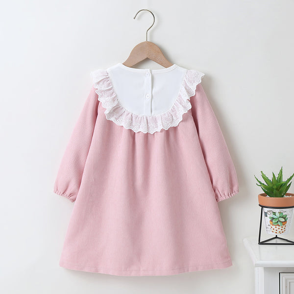 Girls Embroidery Lovely Collar Long Sleeve Dress Wholesale Designer Baby Clothes