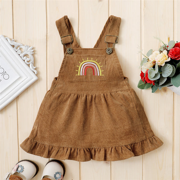 Baby Girls Embroidery Rainbow Suspender Dress baby clothes wholesale usa