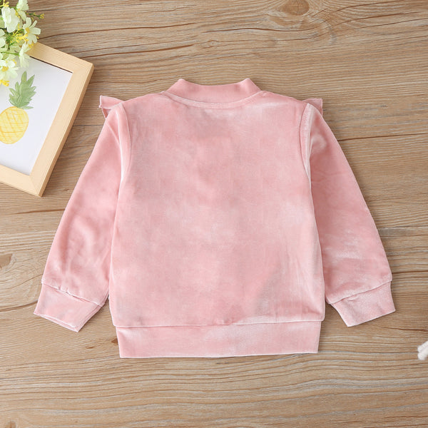 Toddler Girls Embroidery Ruffle Long Sleeve Zipper Jacket Baby Outfits