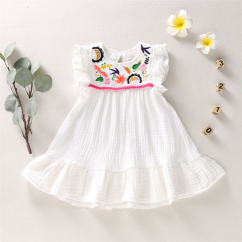 Girls Embroidery Sleeveless Princess Casual Dress Wholesale Boutique Childrens Clothing