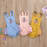 Baby Girls Embroidery Suspender Romper Baby Boutique Clothing Wholesale