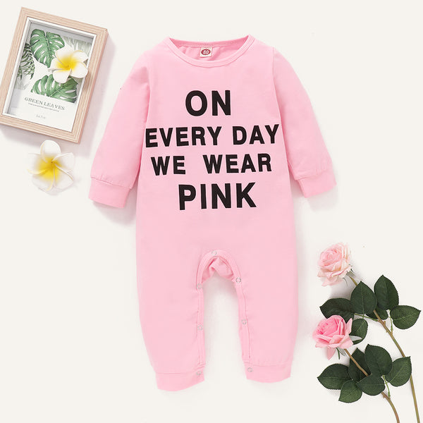 Baby Girl Everyday Wear Pink Long Sleeve Romper Wholesale Baby Outfits