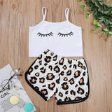Girls Eyelashes Printed Sling Top & Leopard Shorts Pajamas Suit cheap baby girl clothes boutique