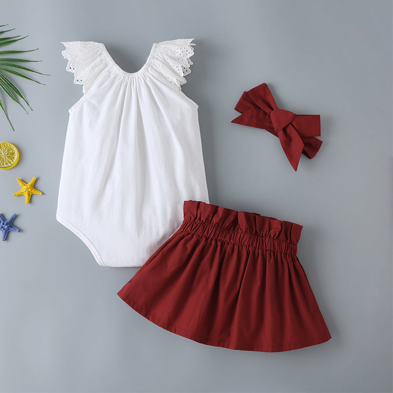 Baby Girl Eyelet Embroidery Bodysuit & Bow Front Paperbag Skirt & Headband