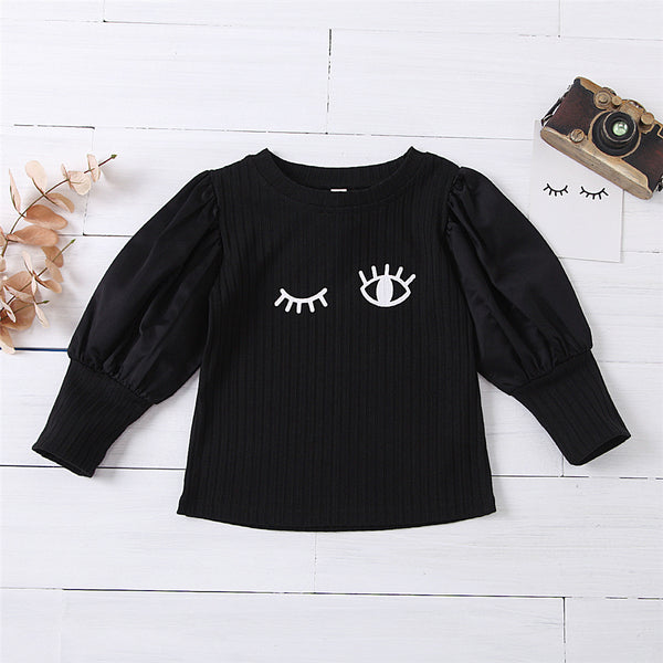 Girls Eyes Printed Long Sleeve Casual T-Shirts Wholesale Girl Clothing