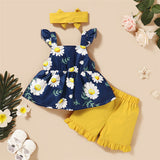 Girls Fancy Flower Printed Bow Sleeveless Top & Shorts & Headband Toddler Clothing Wholesale