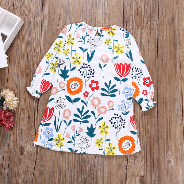 Girls Fashion Floral Printed Crew Neck Dress