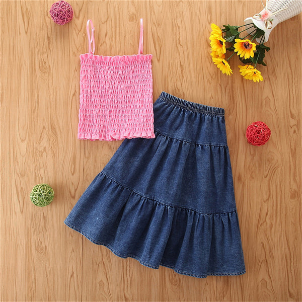 Girls Fashion Solid Sling Top & Denim Skirt Trendy Kids Wholesale Clothing