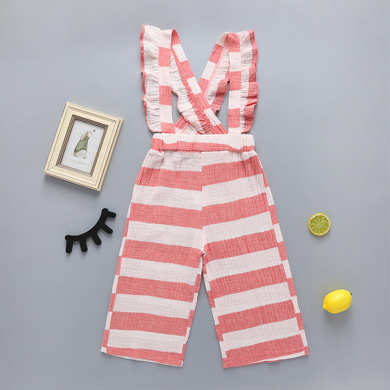 Girls Fashion Striped Daily Jumpsuit