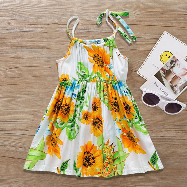 Baby Girls Fashion Summer Sunflower Printed Suspender Dress Buy Wholesale Kids Clothing