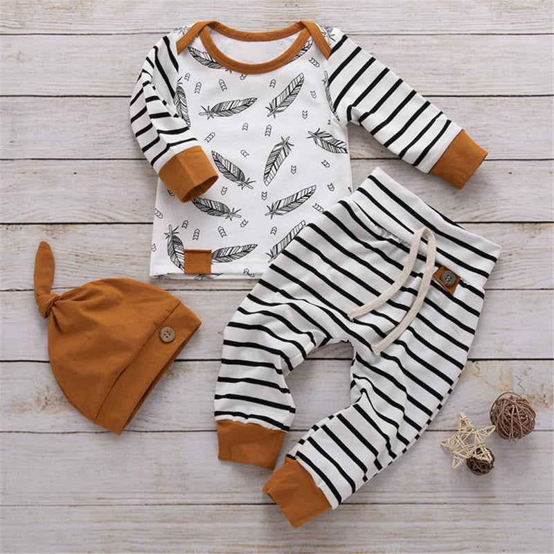 Baby Feather Stripe Long Sleeve Top & Pants & Hat