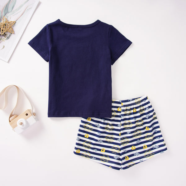 Baby Boy Fish Printed Short Sleeve Top & Striped Shorts Baby Summer Clothes